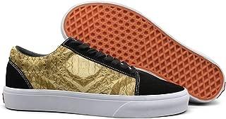 Gold Paper Lattice Energy Panels Free Patterns Women Canvas Low Top Skateboarding Shoes