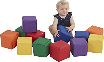 ECR4Kids SoftZone Patchwork Toddler Block Playset, Gentle Foam Blocks for Safe Active Play and Building, Built to Last, Certified and Safe, 12-Piece Set, Primary