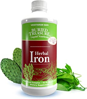 Buried Treasure: Herbal Iron Supplement Promotes Blood Building & Healthy Iron Levels for Women & Men - Liquid Iron 16 oz ...