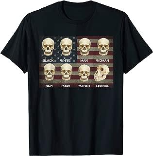 Black White Patriot Liberal Skulls Shirt
