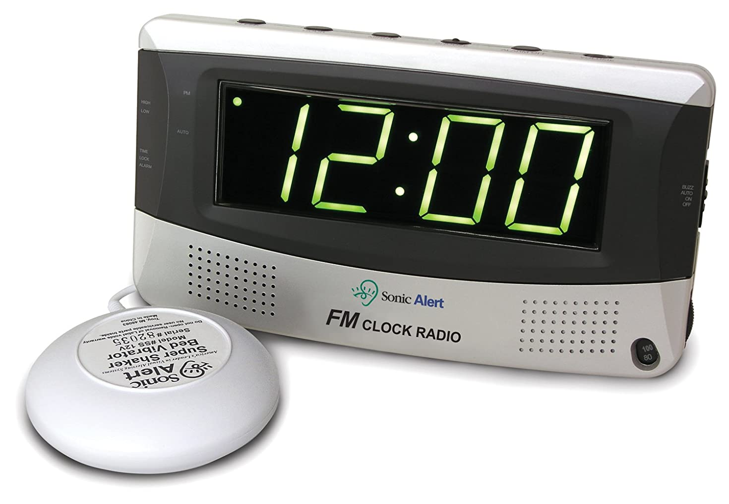 Sonic Alert Sonic Bomb Extra-Loud FM Radio Alarm Clock with Bed Super Shaker for Heavy Sleepers, Teenagers, People with Hearing Loss, Seniors, and The Deaf - Sonic Boom SBR350SS