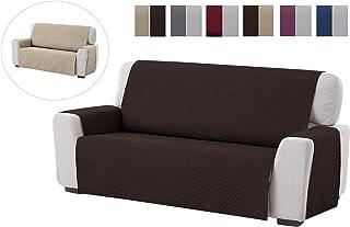 comprar comparacion Textilhome - Funda Cubre Sofá Adele, 3 Plazas, Protector para Sofás Acolchado Reversible. Color Marrón