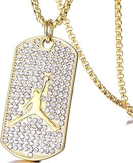 Hip Hop 18K Gold Plated Titanium Steel Crystal Basketball Dog Tag Pendant Necklace