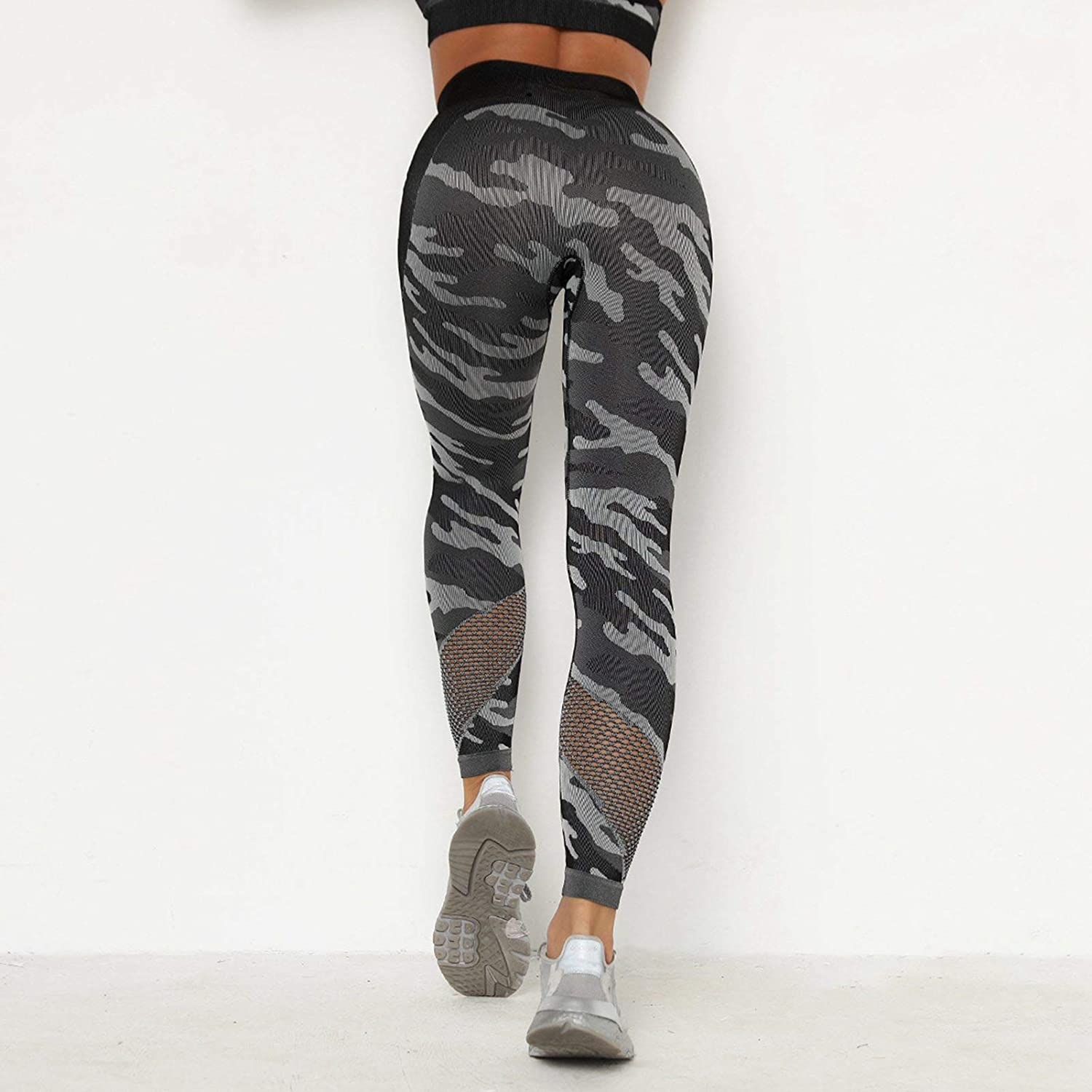 SUSSURRO Women Leggings Camo High Waisted Workout Pants Mesh Seamless Athletic Legging