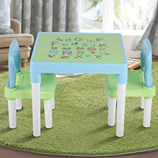 Table and Chair Set Childrens Kids Plastic Table and Two Chairs Set Learning Studying Desk for Home Kindergarten Blue Green