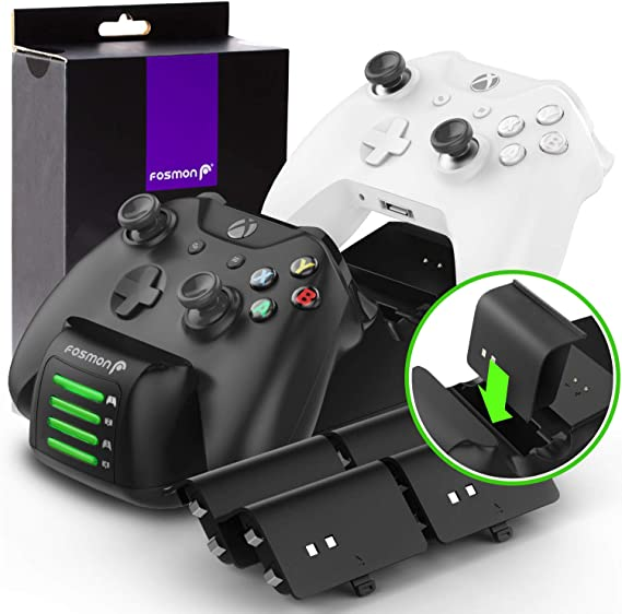 Fosmon Xbox One Quad PRO Controller Charger with 4 Rechargeable Battery Packs (Upgraded)