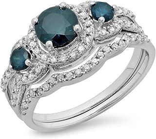 Dazzlingrock Collection 1.40 Carat (ctw) 14K Gold Round Blue & White Diamond Ladies 3 Stone Halo Bridal Engagement Ring Band Set