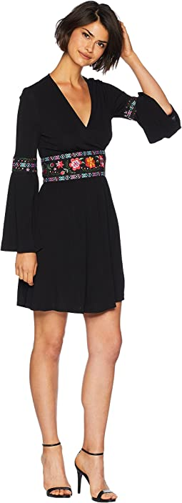 Knit Matte Jersey Embroidered Crossover Dress