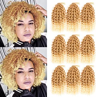 8 Inch Marelybob Kinky Curly Crochet Braids Twist Hair Afro Curly Weave Braiding Hair Synthetic Hair Extensions (8inch, 27/613)