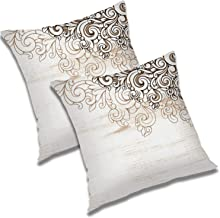 RADANYA Floral Printed Polyester Cushion Cover (18x18 Inch; Ivory) - Set of 2 Pcs