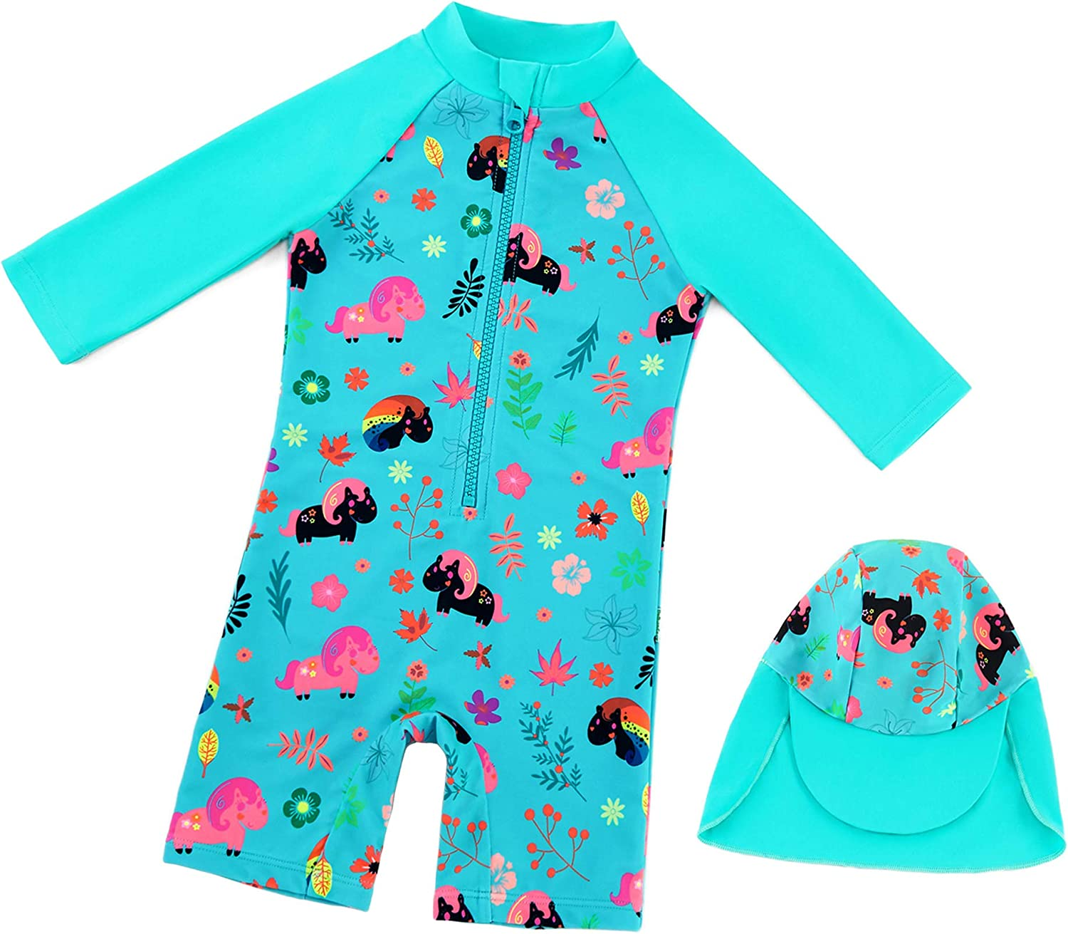 upandfast Baby Girls' Swimwear Sunsuits One Piece Swimsuits with Sun Hat UPF 50+ Sun Protection Toddler Bathing Suits: Clothing, Shoes & Jewelry