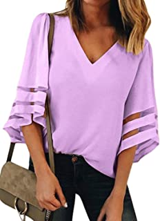 00f19d139fc44 BLENCOT Womens 3 4 Bell Sleeve V Neck Lace Patchwork Blouse Casual Loose Shirt  Tops