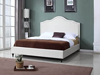 """Home Life Cloth Light Beige Cream Linen 51"""" Tall Headboard Platform Bed with Slats Queen - Complete Bed 5 Year Warranty Included 009"""