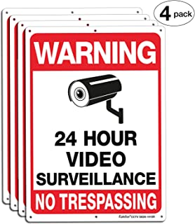 Faittoo 4-Pack Video Surveillance Sign, 14x10 Inches .040 Aluminum No Trespassing Metal Reflective Warning Sign, Indoor or Outdoor Use for Home Business CCTV Security Camera,UV Protected & Waterproof
