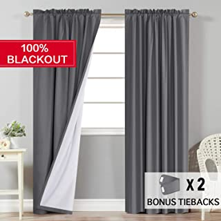 Flamingo P 100% Blackout Grey Curtains for Bedroom Faux Cotton Thermal Insulated Curtains 96 inches Long for Living Room, Rod Pocket Window Curtains 2 Panels, 2 Bonus Tie-Backs
