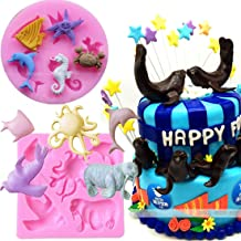 Mini Sea Creatures Summer Beach Theme Candy Silicone Mold for Sugarcraft, Cake Decoration, Cupcake Topper, Fondant, Jewelry, Polymer Clay, Crafting Projects, 2 in Set Non stick easy to use