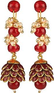 Efulgenz Indian Bollywood 14K Gold Plated Crystal Pearl Leaf Floral Style Jhumka Jhumki Big Earrings Jewelry Set