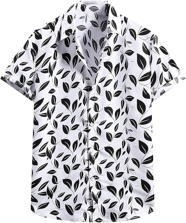 Men's Printing Short Sleeve Casual Button Down Shirt,Summer Hawaiian Beach Shirts Tropical Aloha Shirts for Men