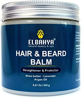Organic Wax Balm 3 in 1 Styler, Treatment and Protector for Hair and Beard, Multi-benefit Straightener Balm for Men and Women with Organic Shea Butter, Argan Oil and Lavender - 7,05 Ounce