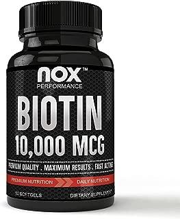 Premium Grade Biotin 10,000 MCG Hair, Skin and Nails | Fast Acting, High Potency - Biotin Softgels, Non-GMO Supplement