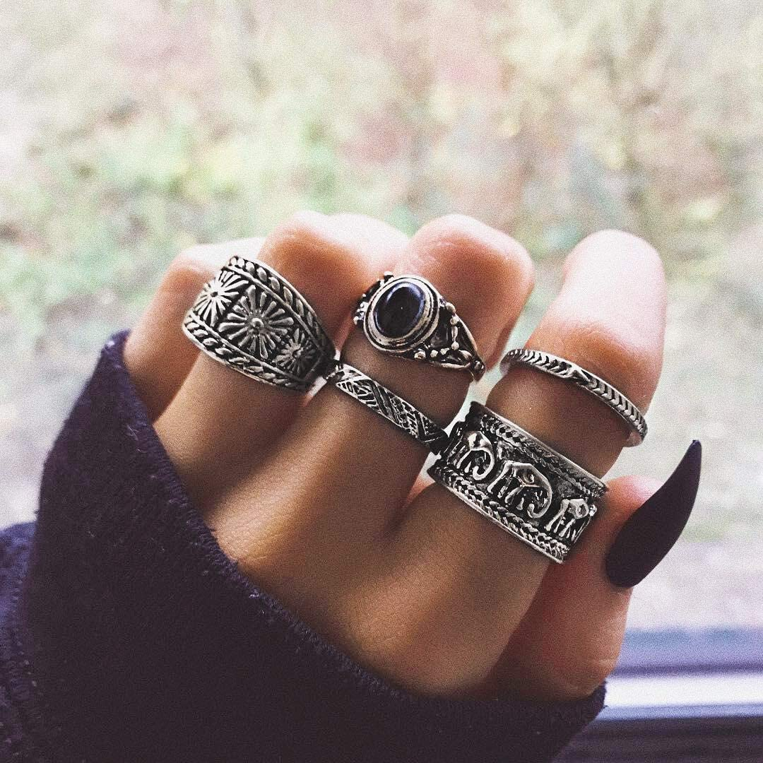 BERYUAN Spring new work one after another Vintage Casual Women Statement Max 61% OFF Set Elephant Ring Silver