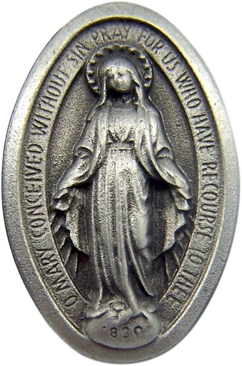 Fine Pewter Catholic Patron Saint Lapel Pin Pendant, 1 Inch