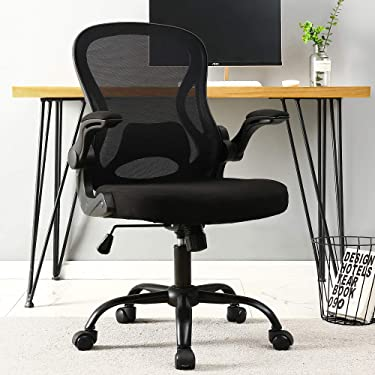 BERLMAN Ergonomic Mid Back Mesh Office Chair Desk Chair with Flip-up Arms and Adjustable Height (Black)
