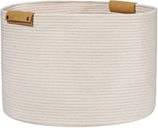 Large Woven Rope Storage Baskets with Leather Handles, 20
