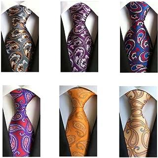 Weishang Pack of 6 Men's Classic Business Tie Silk Necktie Woven Jacquard Neck Ties