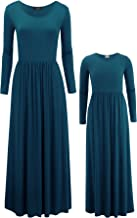 Mommy and Me Long Sleeve Solid Maxi Dress with Pockets - Made in USA