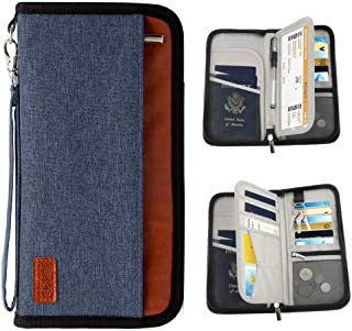 Passport Holder RFID Blocking Multifunction - Travel Wallet for Family Larger Capacity Waterproof Nylon Fabric