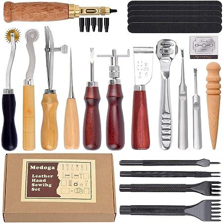 Ensemble de 18 outils de maroquinerie, pour piquer, marquer, travailler, coudre et rainurer 18