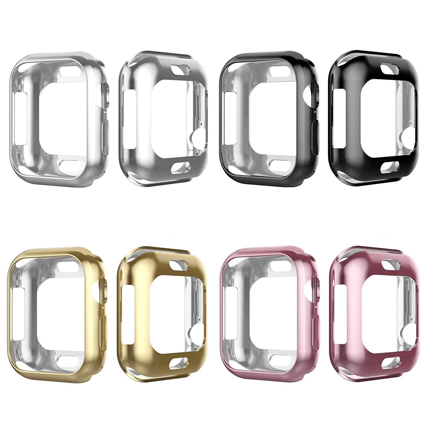 Tech Express 4 Pack Metallic Chrome Bumper Protection Case for Apple Watch Series 4 [iWatch Cover] Black, Silver, Rose Gold, Gold 40mm, 44mm Rugged Skin Cover Shockproof Lot of 4 (44mm)