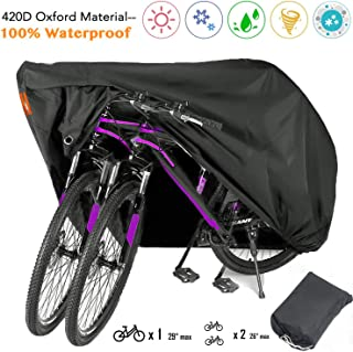 Indeed BUY Bike Covers for 2 Bikes Waterproof Outdoor Bike Storage Bicycle Motorcycle Covers XL 420D Oxford Rain Sun UV Dust Wind Proof for Mountain Road Electric Bike Tricycle