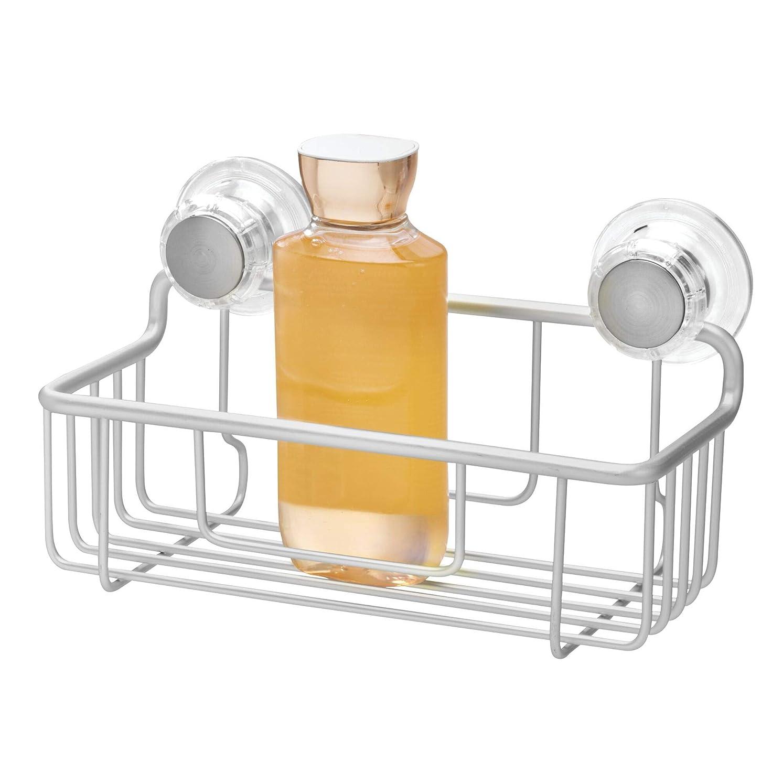 自分を引き上げる任意会うInterDesign シャワーラック 風呂 バスルーム 防錆加工 アルミ製 吸盤 Metro シルバー 20700EJ