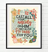 Vintage Bible Page Verse Scripture - Cast All Your Anxiety on Him - 1 Peter 5:7 Christian Art Print, Unframed, Floral Christian Wall and Home Decor Poster, All Sizes