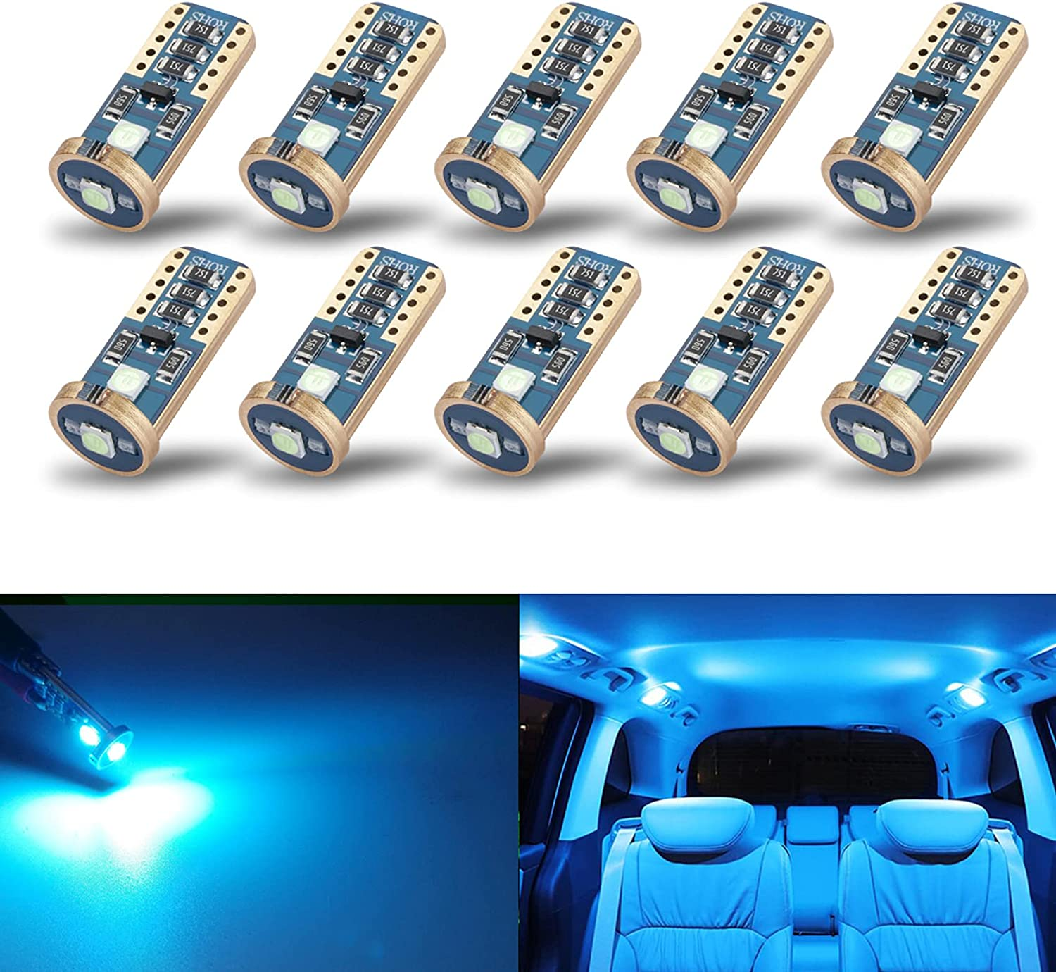 iBrightstar Newest Extremely Bright Wedge T10 168 194 LED Bulbs for Car Interior Dome Map Door Courtesy License Plate Lights, Ice Blue