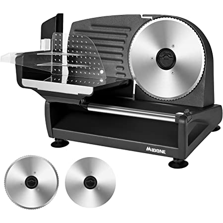 Meat Slicer, MIDONE 200W Electric Food Slicer with Two Removable 7.5'' Stainless Steel Blades and Food Carriage, Child Lock Protection, 0-15mm Adjustable Slicing Thickness