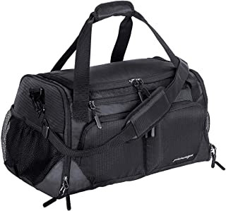 "Gym Bag, Sports Travel Duffel Bag with Shoes Compartment & Wet Pocket & Water Resistance Pouch, Men Women, 31L (17""), Black"