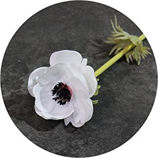 Artificial Fowers Artificial Anemone Flowers 12 Pieces/Lot Wedding Home Table Flower Party Decoration Boutonniere Bouquet Accessories,White