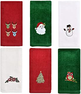Christmas Kitchen Towels Set of 6, Cotton Christmas Hand Towels for Bathroom, Embroidery Design Holiday Tea Towels Fingert...