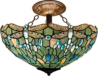 Tiffany Ceiling Fixture Lamp Semi Flush Mount 16 Inch Stained Glass Shade for Dinner Room Pendant Hanging 2 Light