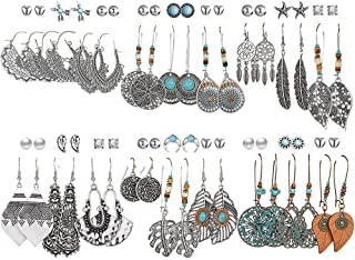 36 Pairs Fashion Vintage Drop Dangle Earrings Set for...