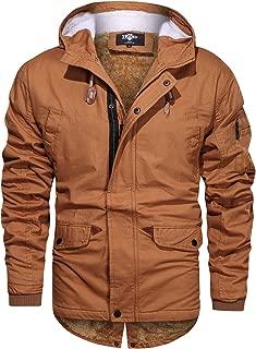 Men's Casual Cotton Hooded Zip Up Windbreaker Jacket Parka Coat with Pockets Orange Black Army Green