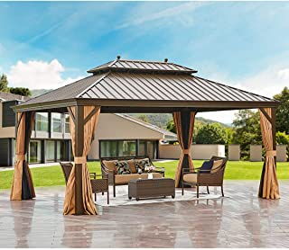 MELLCOM 12' X 16' Hardtop Gazebo Galvanized Steel Outdoor Gazebo Canopy Double Vented Roof Pergolas Aluminum Frame with Ne...