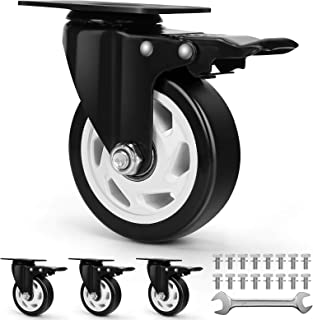 Cylficl 4PCS Castors Extra Flat Heavy Duty Swivel Wheels Color : B Black Nylon Industrial Truck with Cover Plate Load Capacity 600 Kg Furniture Trailer Replacement