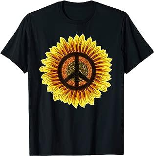 Sunflower Peace Sign 1960s 1970s Hippie Flower Retro T-Shirt