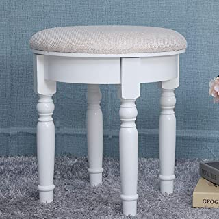 IWELL Country Style Vanity Stool with Rubber Wood Leg, Round Padded Dressing Makeup Stool, Capacity 300LBs, Piano Seat Chair Bench in Bedroom, Bathroom, Easy Assembly, White ASZD004W