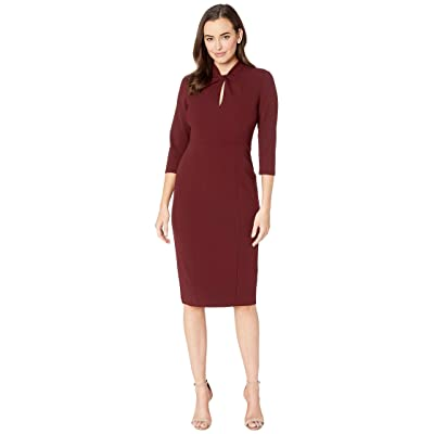 Donna Morgan Long Sleeve Crepe Sheath with Twisted Neckline (Currant) Women