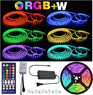 Led Strip Light Waterproof 16.4ft Color Changing RGB SMD 5050 LED Strip Lighting Kit with 44-Keys IR Remote Controller & Power Supply for Home Kitchen Bed Room Decoration (RGB W 16.4 Ft)